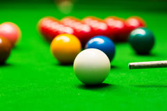 Snooker - closeup of aiming the cue ball Royalty Free Stock Images
