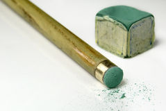 Snooker cue and chalk Royalty Free Stock Photo