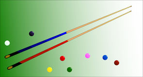 Snooker Cues and Balls. Two snooker cues with several coloured balls Royalty Free Stock Image