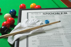 Snooker display. A selection of snooker paraphernalia on a snooker table Stock Images