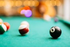 Snooker game eight ball pool billiards. Table Royalty Free Stock Image