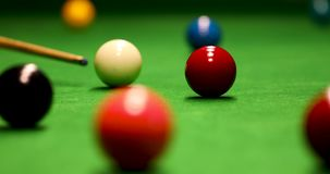 Snooker game shot - aiming the cue ball stock video footage