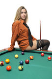 Snooker girl Royalty Free Stock Photography