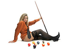 Snooker girl Royalty Free Stock Photos