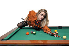 Snooker girl Royalty Free Stock Image