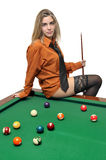 Snooker girl Royalty Free Stock Photo