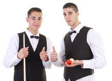 Snooker guys. Two guys with snooker balls and a snooker cue smiling Royalty Free Stock Image