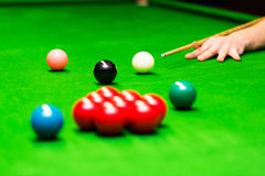 Snooker - hand aiming the cue ball Royalty Free Stock Photography