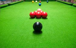 Snooker On Green Table Stock Photo