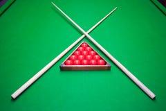 Snooker op lijst wordt geplaatst die stock foto