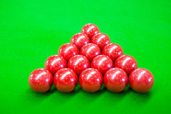 Snooker. A photo of fifteen red ball on a green felt Royalty Free Stock Photos