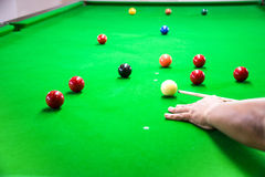 Snooker. A photo of snooker game that is shooting a black ball Royalty Free Stock Image