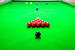 Snooker. A photo of a snooker that is setting up on the table Royalty Free Stock Photography