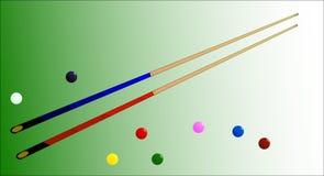 Snooker piłki i wskazówki royalty ilustracja