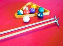 Snooker piłki na snookeru stole Zdjęcia Royalty Free