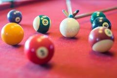 Snooker piłki na snookeru stole Fotografia Royalty Free
