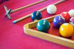 Snooker piłki na snookeru stole Obraz Stock