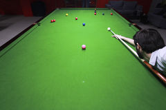 Snooker player. Shot from above Stock Photos