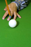 Snooker player. Hitting a ball, shallow depth of field stock photo