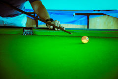 Snooker Player, man play snooker, Adjust color tone. Royalty Free Stock Photo