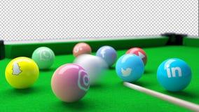 Snooker-Pool Billard-Tabelle mit Bällen der sozialen Netzwerke Stockbild