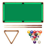 Snooker and pool gaming elements isolated on white. Billiard table Stock Photos