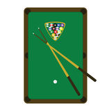 Snooker (pool) table. Illustration of a snooker (pool) table, with balls and sticks on it Stock Images