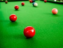 Snooker. Red and Colorful Snooker Balls on Green Snooker Table Royalty Free Stock Image