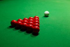 Snooker red white ball on a billiard table. Snooker red white ball billiard green table Royalty Free Stock Photos