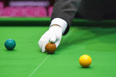 Snooker referees. Put the ball in competition Royalty Free Stock Photos