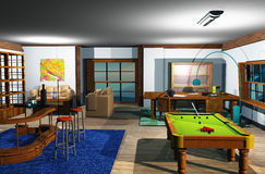 Snooker room. Illustration of the Snooker room Royalty Free Stock Photography