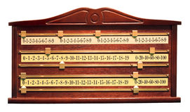 Snooker score board. A wood and brass snooker score board Royalty Free Stock Image