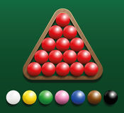 Snooker Set Rack. Snooker set with fifteen red balls in a wooden rack and seven colored balls in a row. Three-dimensional vector illustration on green gradient Royalty Free Stock Photo