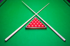 Snooker set on table Stock Photo