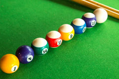 Snooker. Some snooker balls on the table Royalty Free Stock Photo