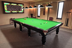 Snooker table. Professional snooker table in a playing room royalty free stock image