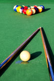 Snooker table. With colorful billiards stock image