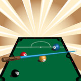 Snooker table. Abstract colorful illustration with green snooker table, colorful balls and cue Royalty Free Stock Photos