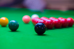 Snooker Table 6 colors. 6 beautiful colors on Stoke fun Stock Photos