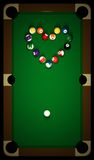 Snooker table with heart Stock Image