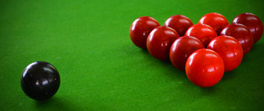Snooker Table and Snooker Balls on Table Stock Photos