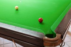 Snooker. On the snooker table with white and red ball royalty free stock image