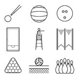 Snooker, volley & bowling line Illustration set Royalty Free Stock Photos