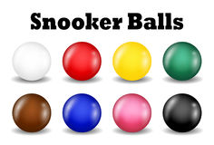 Snookerbolluppsättning på en vit bakgrund Royaltyfri Fotografi