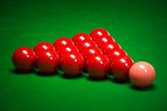 Snookerbolluppsättning Arkivfoto