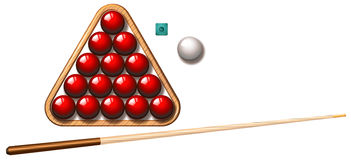 Snookers ball and stick. Illustration royalty free illustration