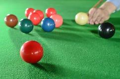 Snookerspieler mit Platz Stockfotos
