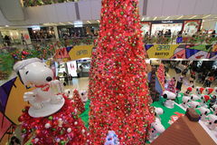 Snoopy christmas decoration in APM Hong Kong Royalty Free Stock Photo