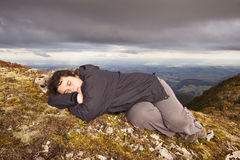 Snooze on top of the world Stock Photo