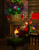 Snoozing Santa. Computer-generated 3D cartoon illustration depicting Santa Claus resting by his fireplace Stock Photos